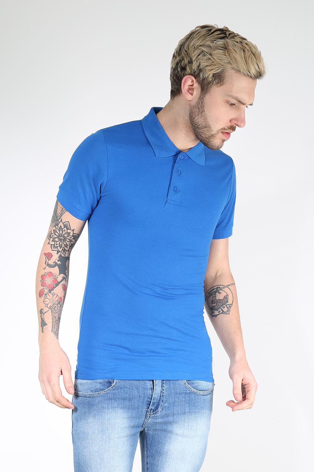 Mens polo t shirt cuffed short sleeves button up collar for Button down collar golf shirt