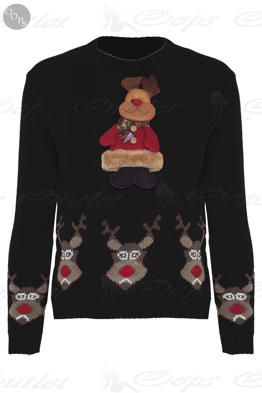 kids boys girls novelty 3d christmas xmas knitted reindeer. Black Bedroom Furniture Sets. Home Design Ideas
