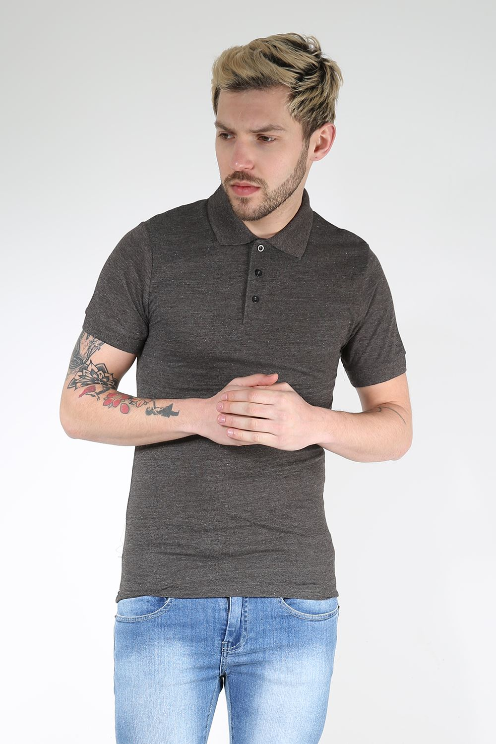 Mens polo t shirt cuffed short sleeves button up collar for Mens collared t shirts