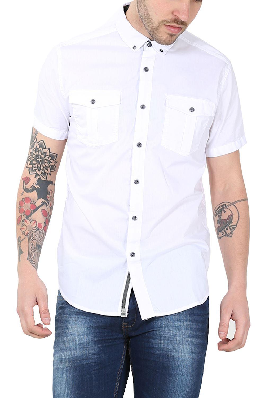 Mens plain front pockets button down short sleeve collard for Mens short sleeve button down shirts