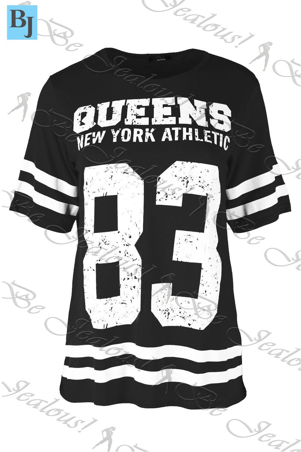 Womens Oversized Top Ladies Baggy T Shirt QUEENS 83 Stripes USA Varsity Baseball