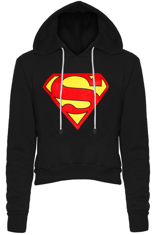 Womens Ladies Cap Long Sleeves Superman Batman T Shirt Sweatshirt Hoodies Tops