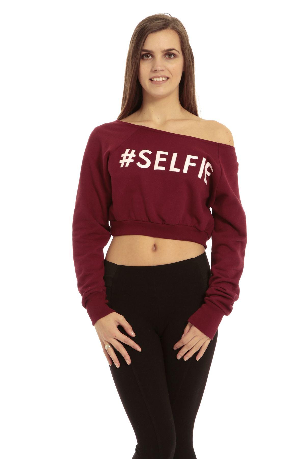 Women Ladies Oversized Fleece Knit Off Shoulder Selfie Print ...