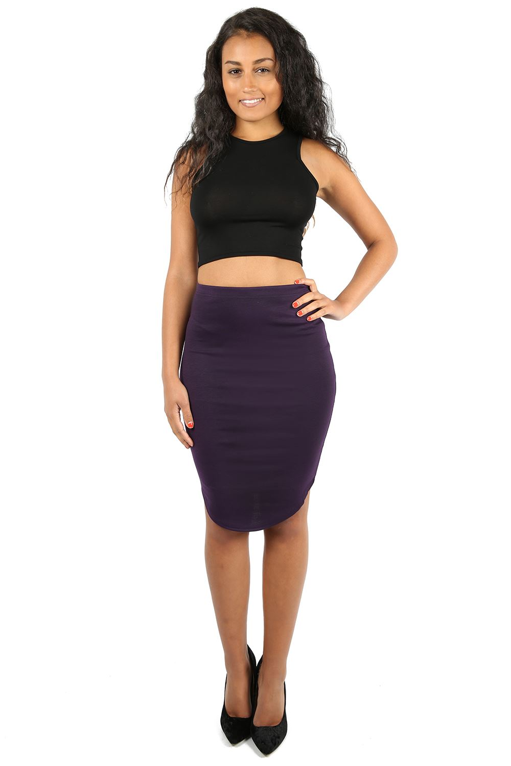 womens knee length curved hem pencil bodycon plus