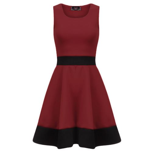 Womens-Ladies-Sleeveless-Stretchy-Knee-Length-Contrast-Panel-Flared-Skater-Dress