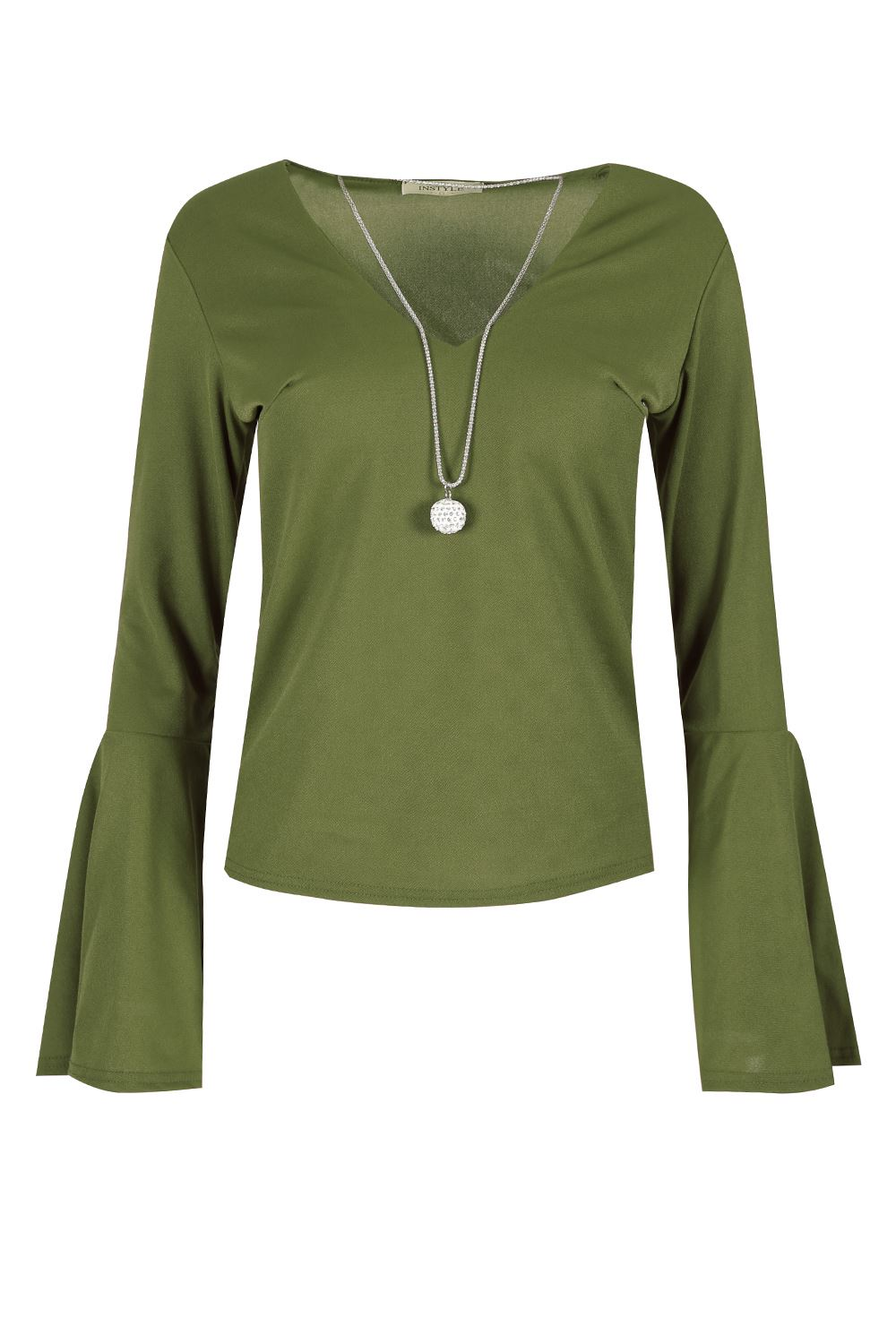 Womens Ladies Crepe V Neck Long Bell Sleeve Casual T Shirt