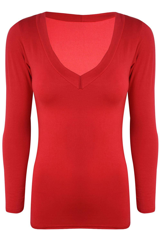 Womens v neck basic t shirt ladies long sleeve stretchy for Long sleeve womens t shirts
