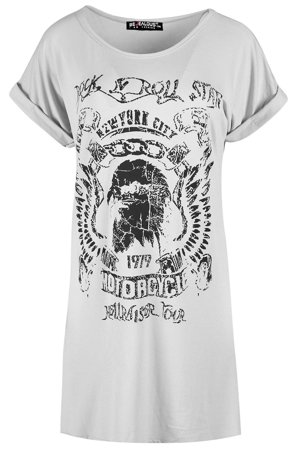 Womens Rock And Roll Star America Oversize Turn Up Sleeve