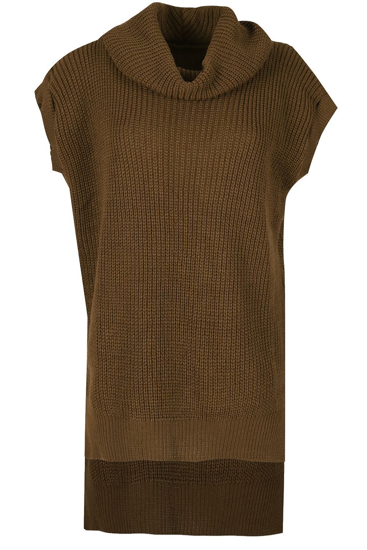 Ladies Chunky Knitwear Cowl Neck Side Slit Dress Womens Sleeveless Jumper Top
