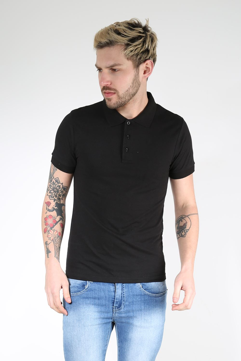 Mens Polo T Shirt Cuffed Short Sleeves Button Up Collar
