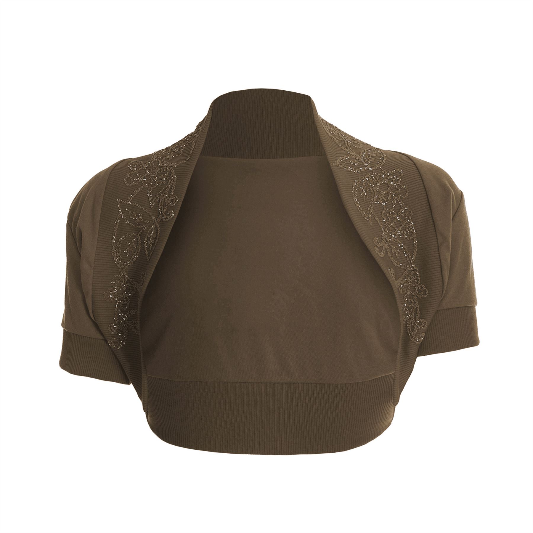 Womens-Cropped-Short-Sleeve-Ladies-Bolero-Open-Beaded-Sequin-Shrug-Top-Plus-Size