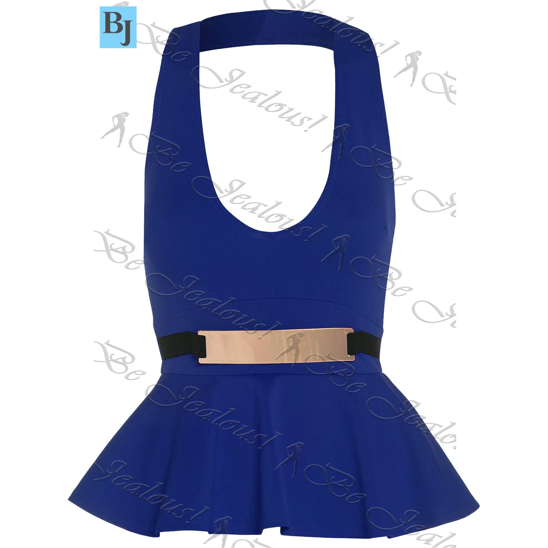 Womens Mini Dress Ladies Peplum Frill Bodycon Belted Sleeveless Halter Neck Top