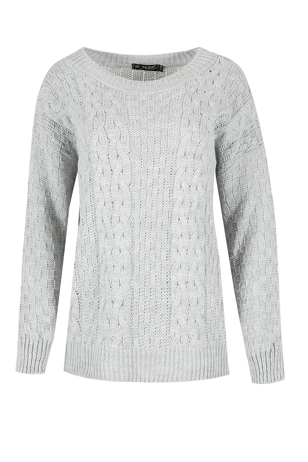 Womens Ladies Grid Chunky Knit Cable Knitted Round Neck Oversized Baggy Jumpe...