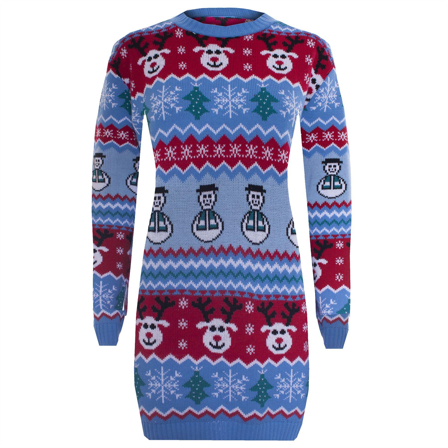 Unisex ladies novelty xmas christmas santa oversize jumper dress top