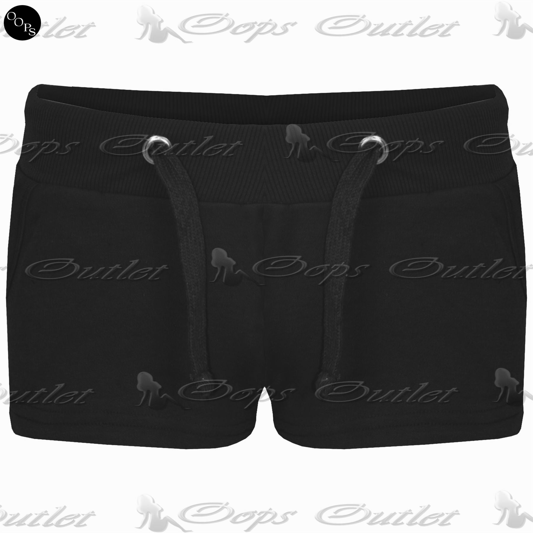 Womens-Elasticated-Plain-Jersey-Ladies-Side-Pockets-Hot-Pants-Jogging-Shorts