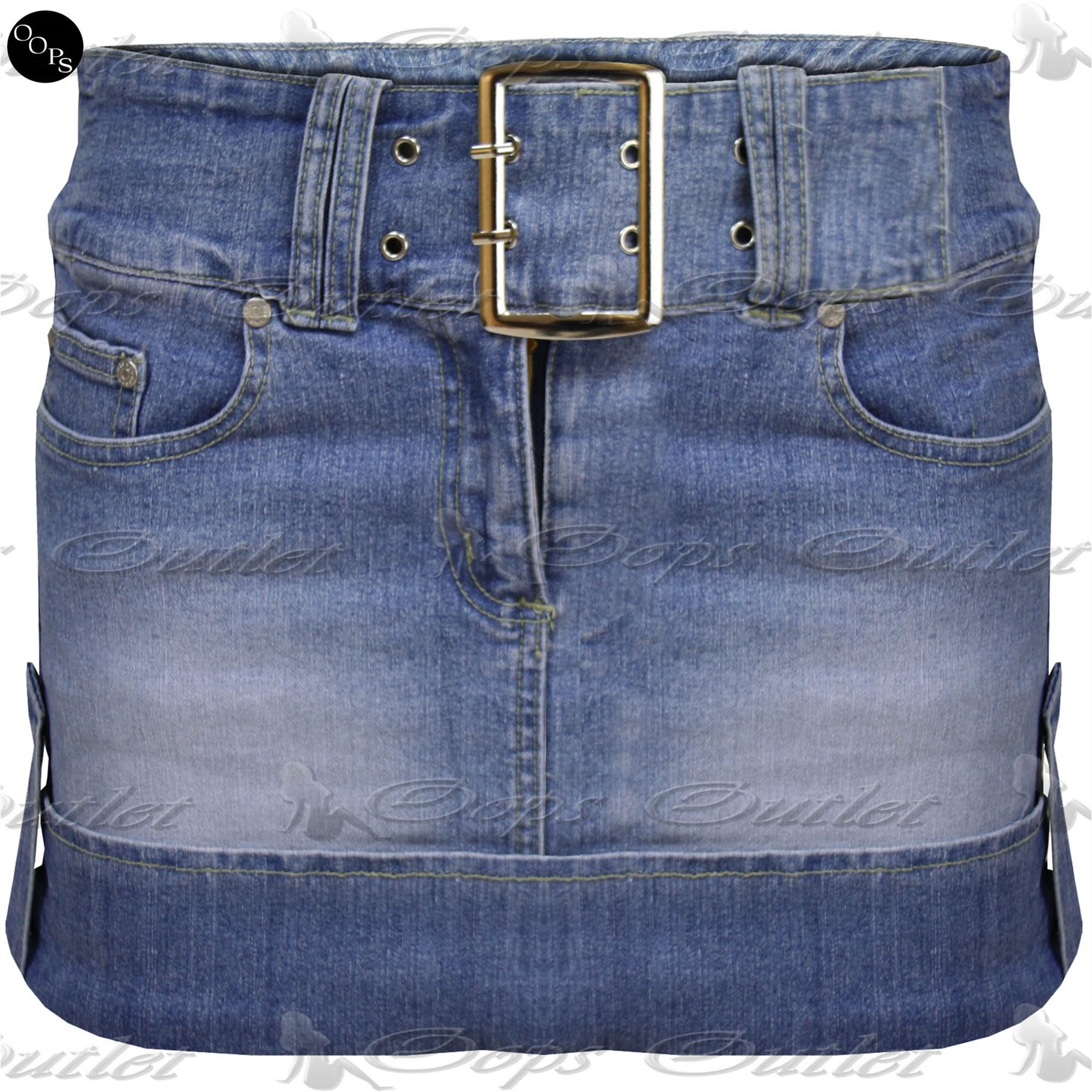 Womens Casual Side Pockets Ladies Front Zip Belt Buckle Denim Short Mini Skirt