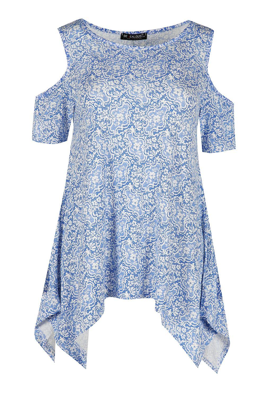 Womens Ladies Floral Baggy Cold Shoulder Oversized Short Sleeve Hanky Hem Top