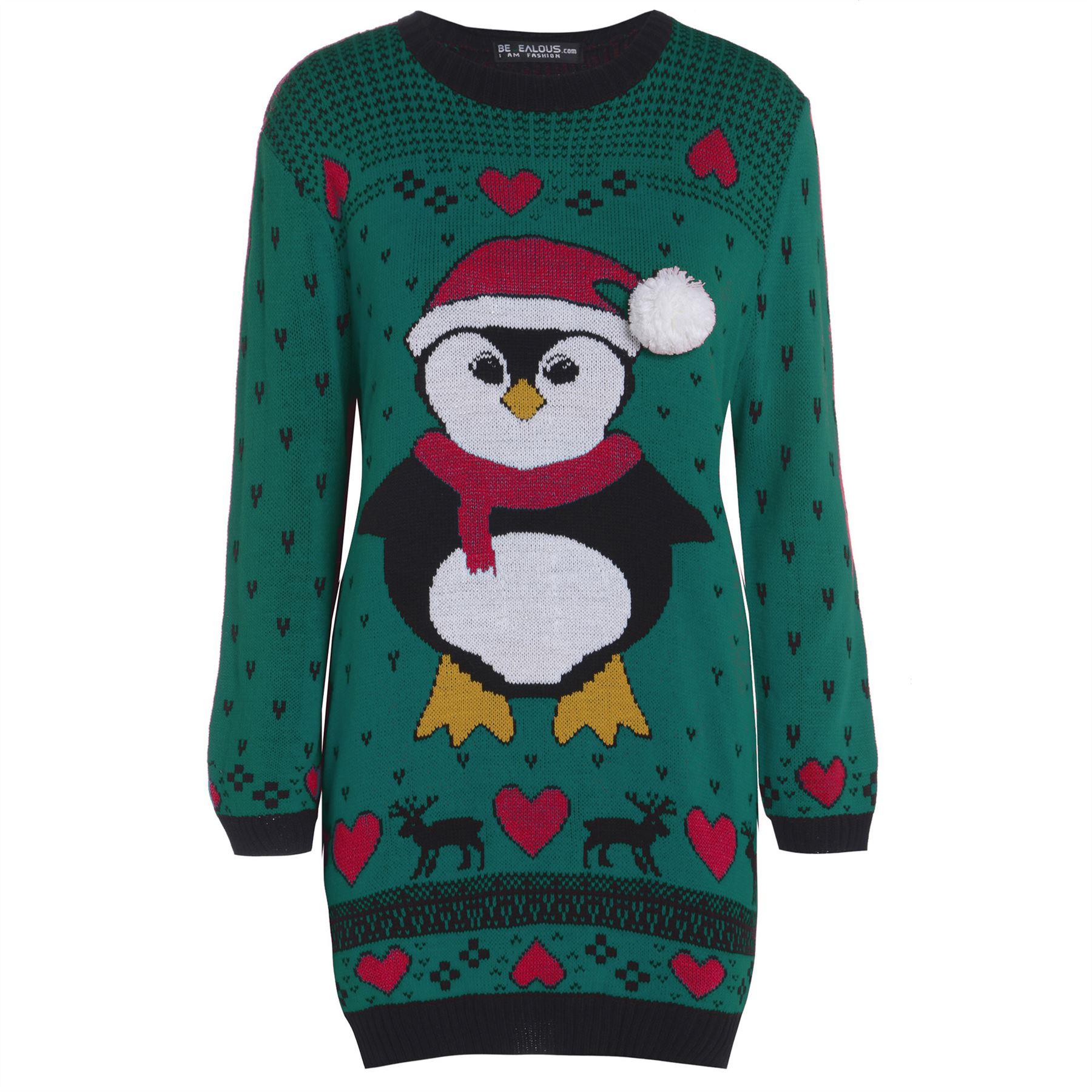 Christmas Tree Sweater Womens: Womens Ladies Snowman Xmas Christmas Tree Knitted Dress