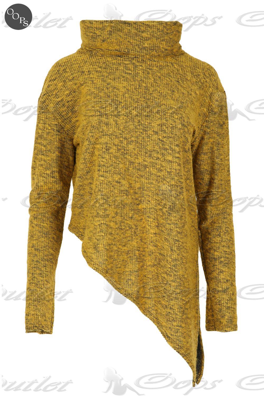 Womens Ladies Cowl Polo Neck Fur Knitted Split Asymmetric Hem Batwing Jumper Top