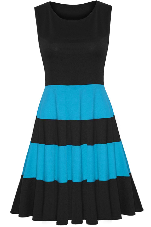 Womens Ladies Sleeveless Blocks Stripe Panel Flared Franki Midi Skater Dress