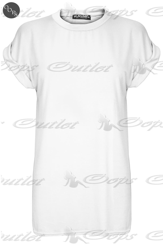 Womens Plain Baggy Oversized Tee Top Ladies Short Turn Up Cap Sleeve T Shirt