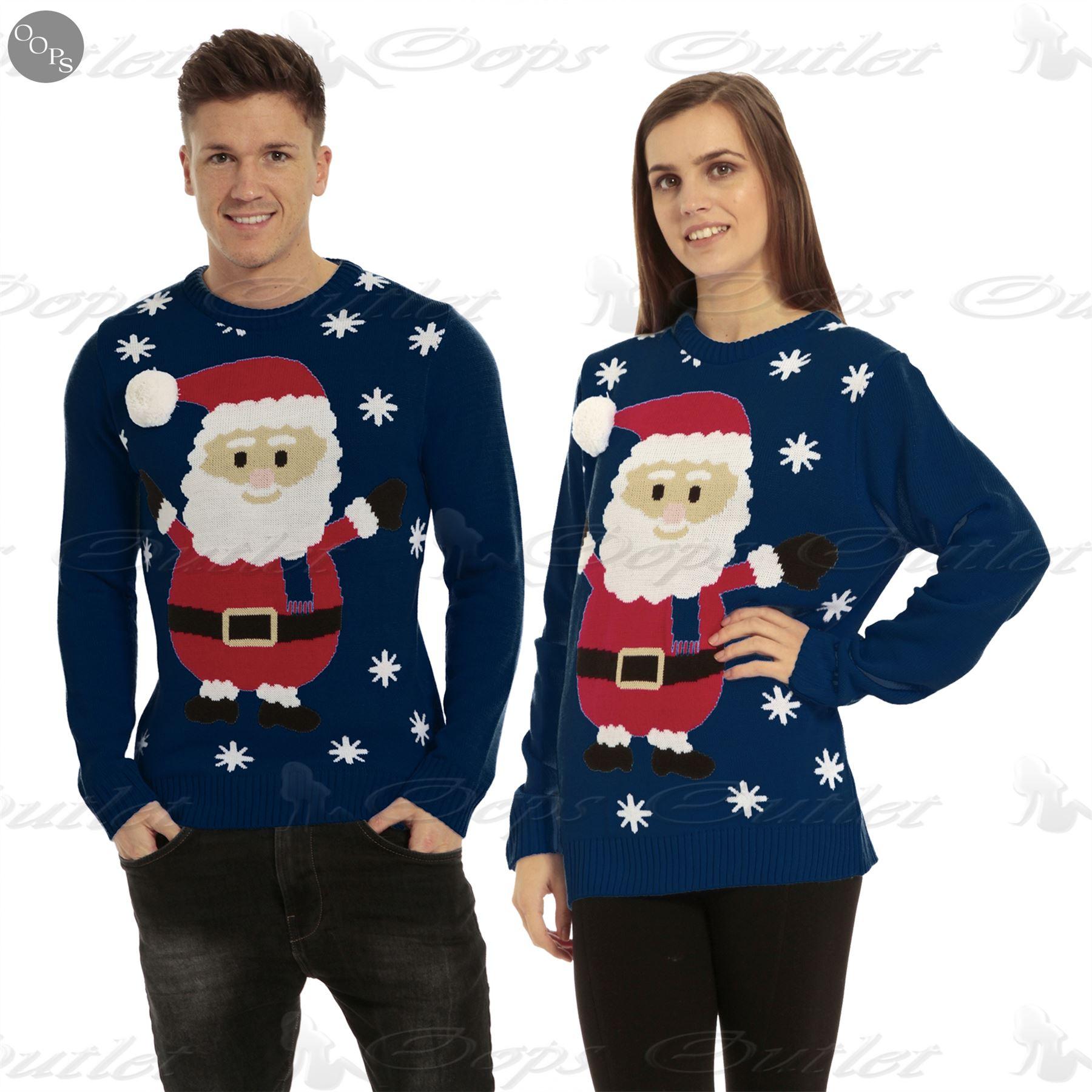 Mens Womens Unisex Knitted Pom Pom Santa Snowman Olaf Christmas Sweater Jumper