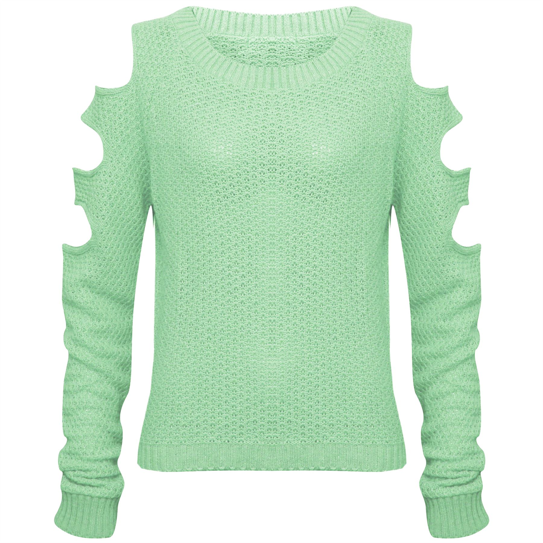 Womens Ladies Cut Out Arms Long Sleeve Baggy Sweater Knitwear ...