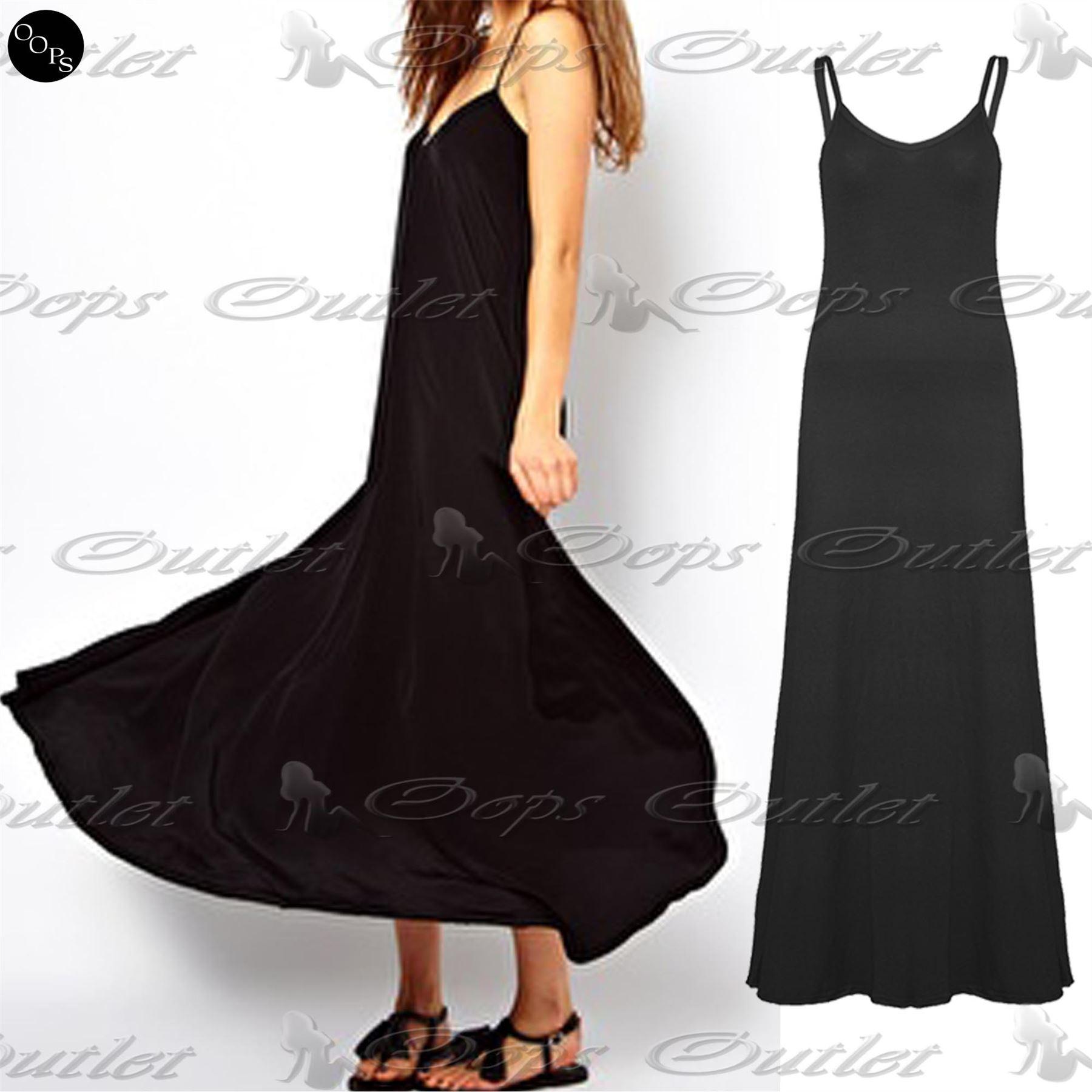 Womens Thin Strap Ladies Spaghetti Sleeveless Camisole Long Maxi Dress Plus Size