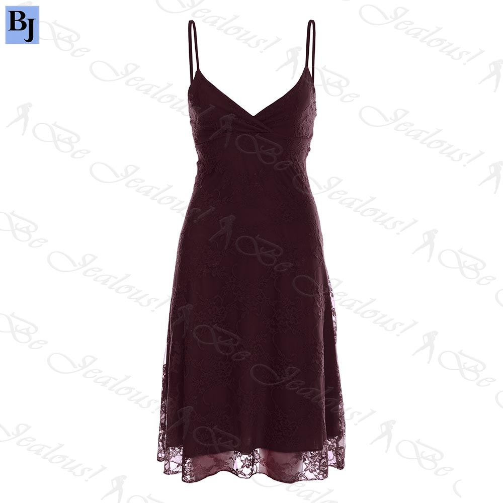 Womens Ladies Camisole Floral Lace Strappy Front Wrap Flared Swing Mini Dress