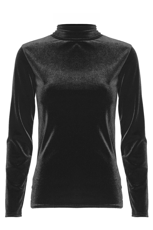 Womens velvet turtle polo neck sleeveless top ladies for Best full sleeve t shirts