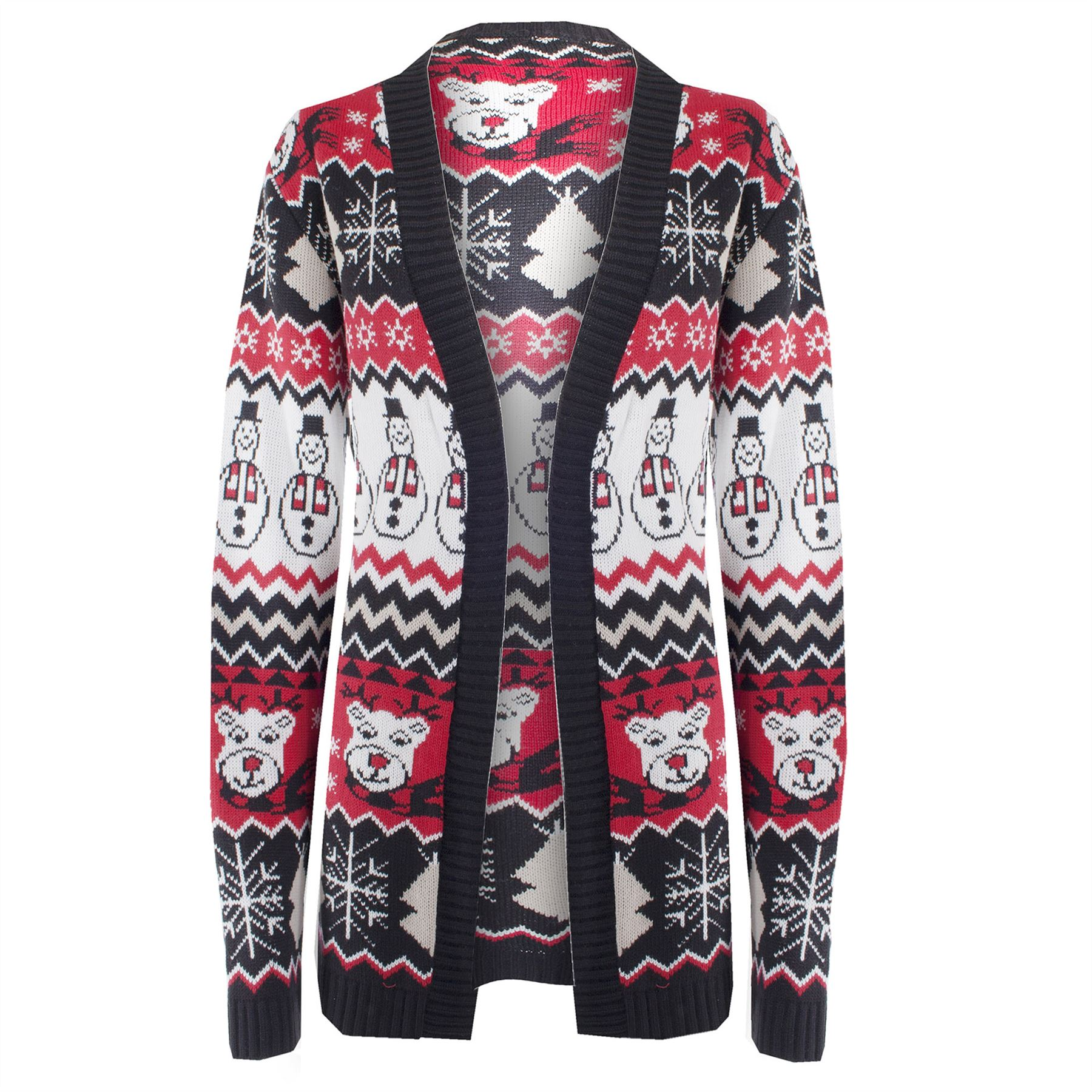 -Crystal & Kobe- Womens black, red, white, sage green and white and black heathered patched background cotton ramie blend button front longsleeve ugly Christmas cardigan sweater, veed neckline with felt snowmen, presents, ornaments, Christmas trees and beaded snowflakes on the front.