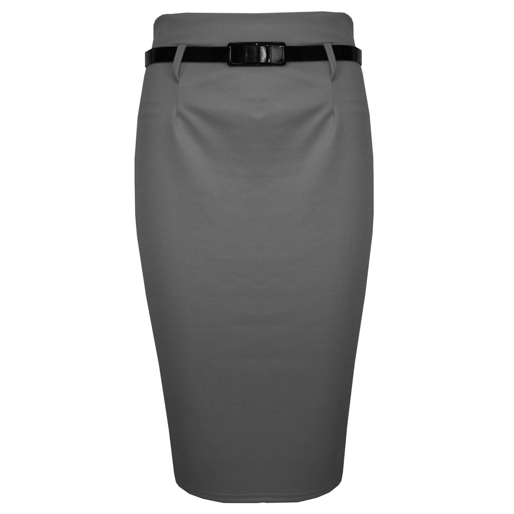 Womens Ladies Plain Belted High Waisted Pleated Office Pencil Bodycon Midi Skirt