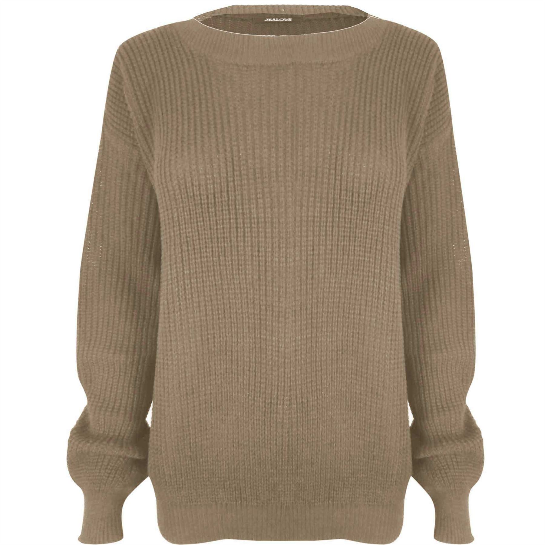 Womens Plain Chunky Knitted Sweater Top Ladies Baggy Oversized ...