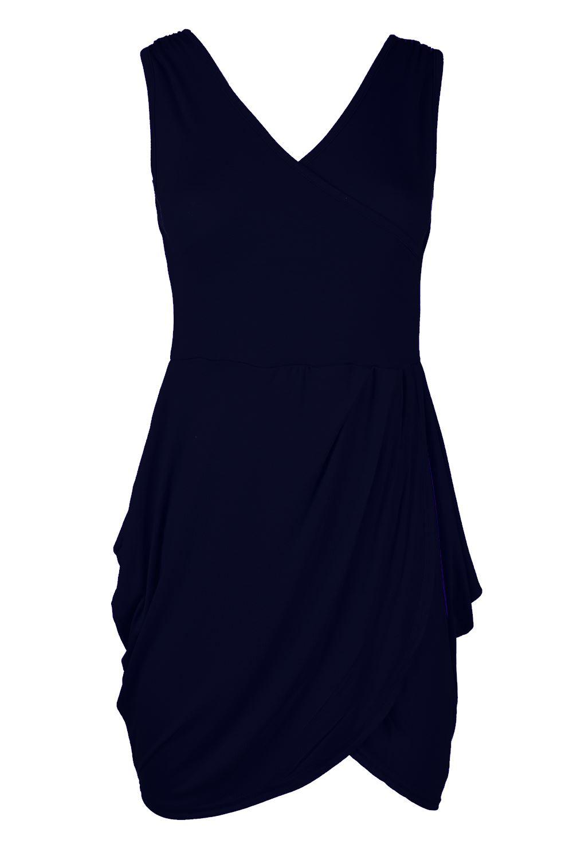 Womens Ladies Deep V Neck Back Wrap Cross Tunic Tulip Shape Mini Dress Plus Size