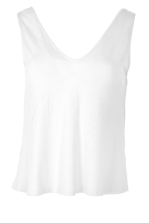 Womens muscle vest v neck front v back ladies plain casual for V neck back shirt