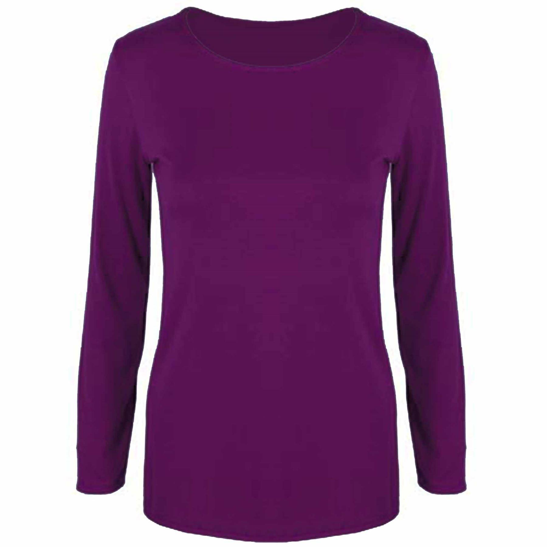 Womens t shirt ladies plain casual long sleeve fit round for Long sleeve womens t shirts