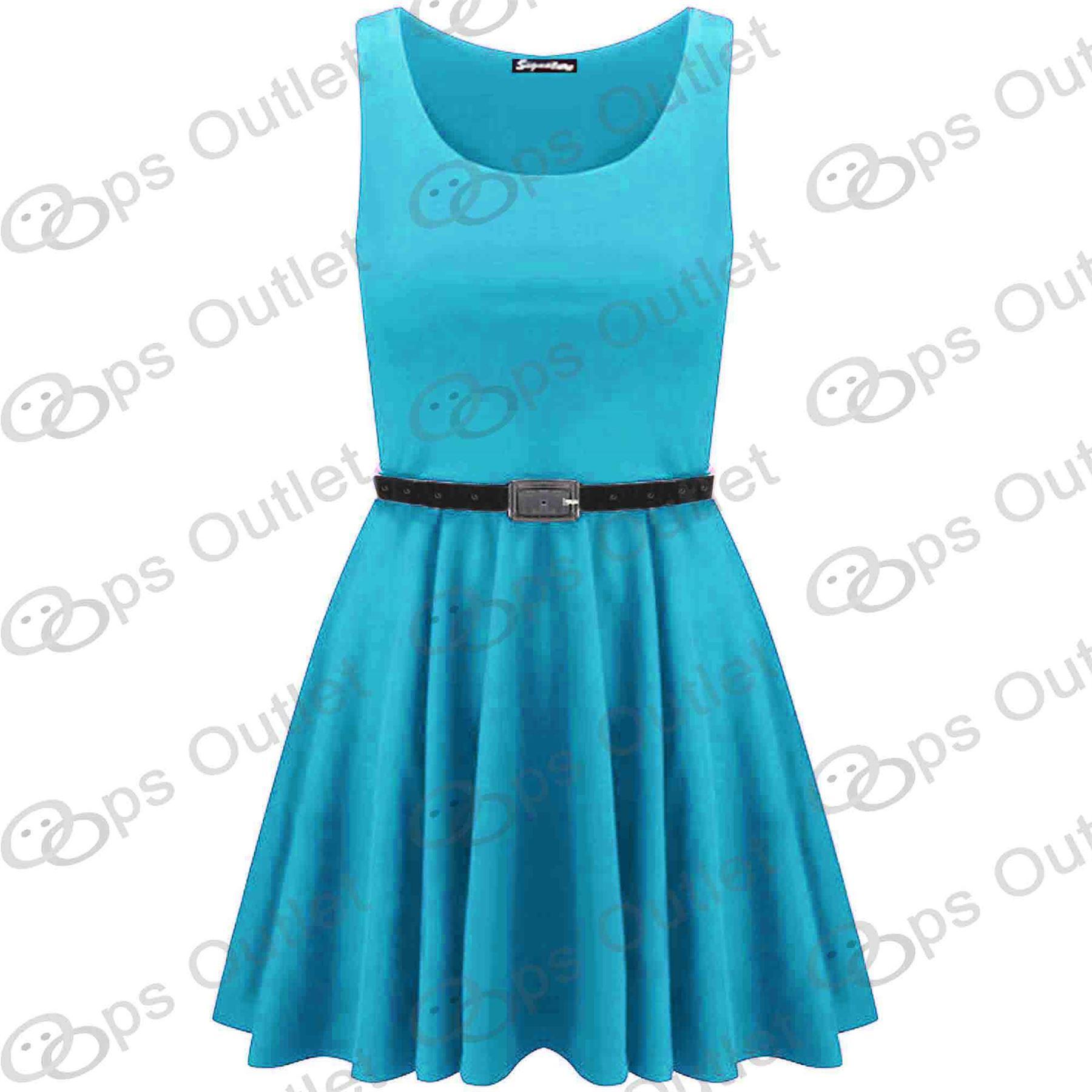 Womens Sleeveless Flared Franki Party Ladies Plus Size Skater Dress Top 16-26