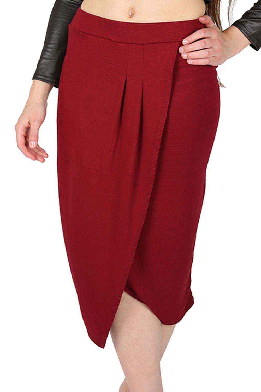 womens pleated wrap high waist pencil bodycon