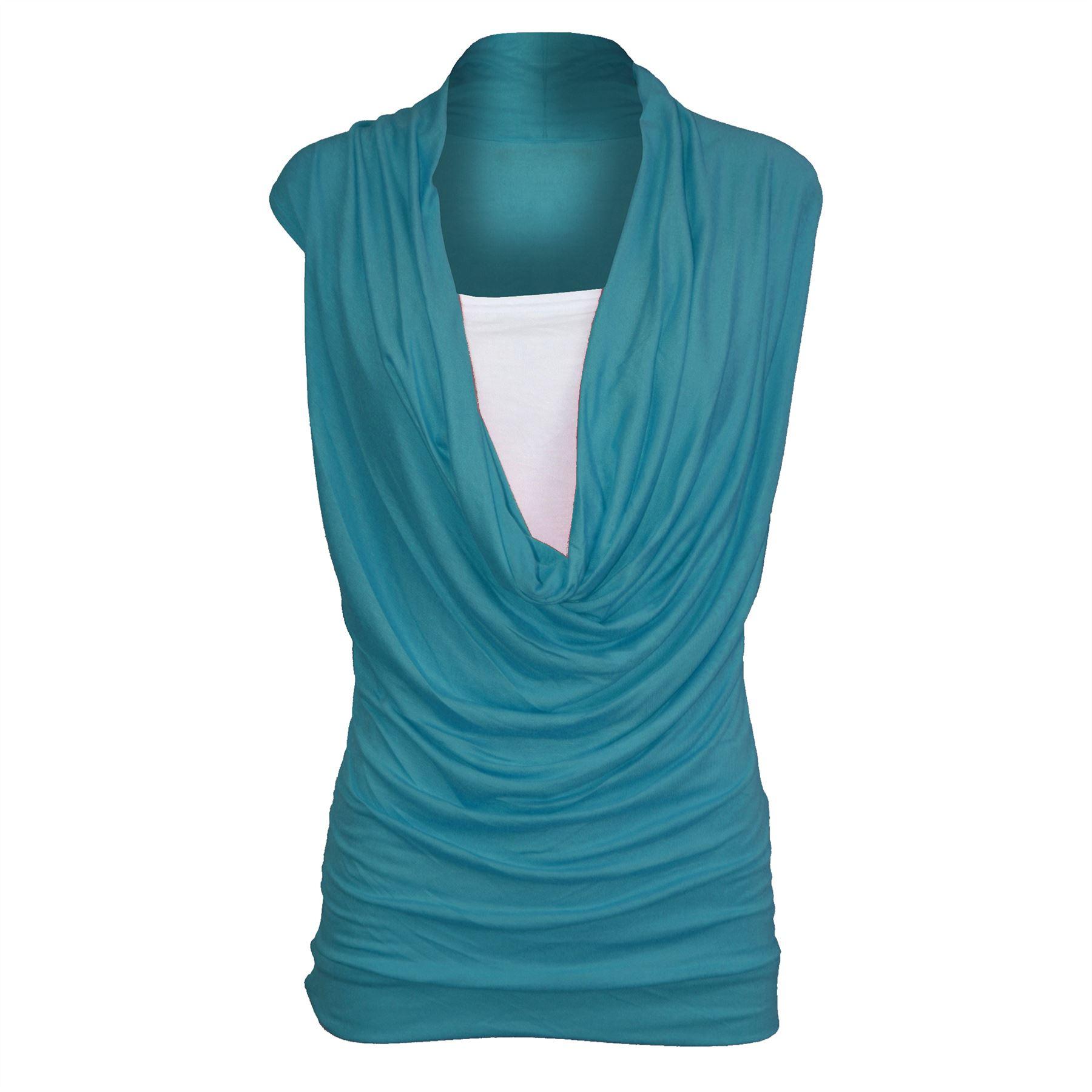 Cowl Neckline: Womens Ladies Sleeveless Cowl Neck Vest Jersey T Shirt Top