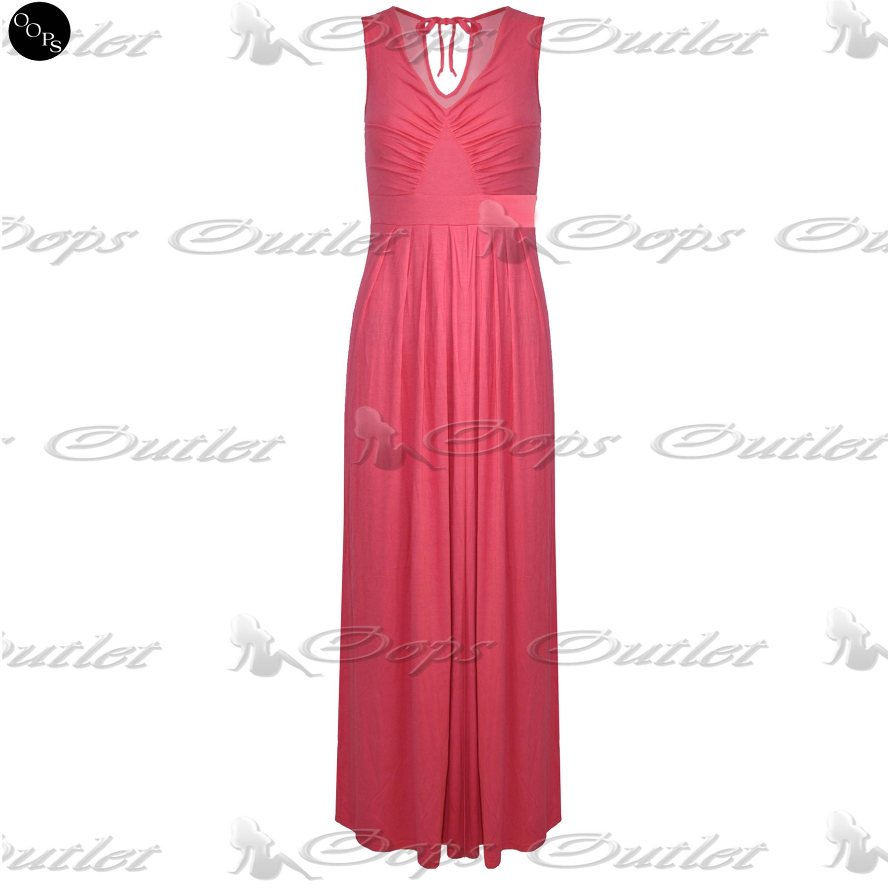 Womens-Pleated-Sleeveless-Full-Length-Ladies-Tie-Back-V-Neck-Flared-Maxi-Dress