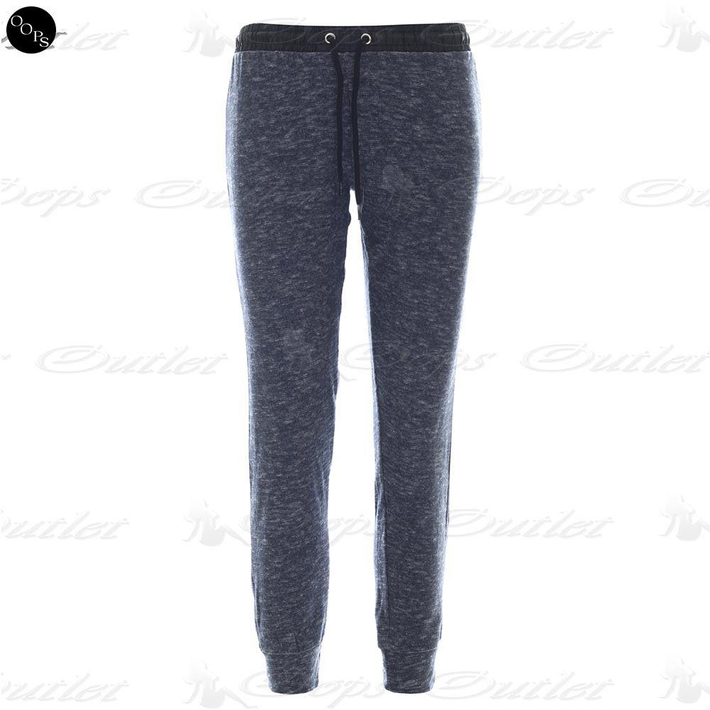 Womens Tracksuit Gym Ladies Sweats Marl Leatherette Trousers Jog Bottoms Pants