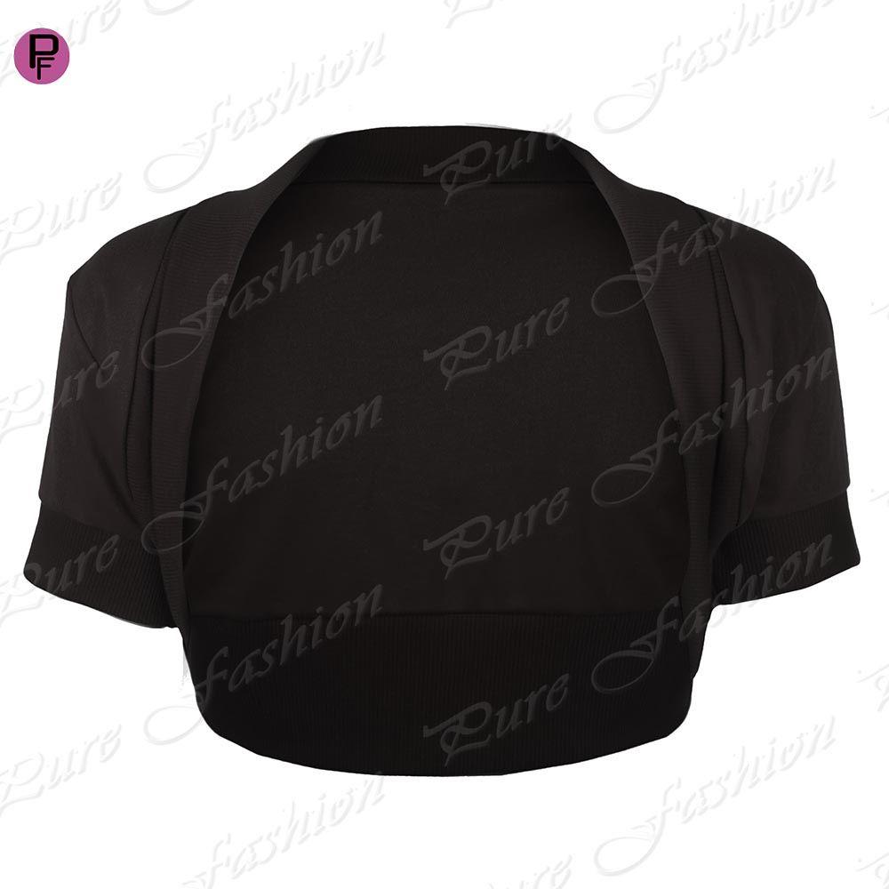 Womens-Ladies-Bolero-Cropped-Short-Sleeves-Open-Cardigan-Shrug-Top-Plus-Sizes