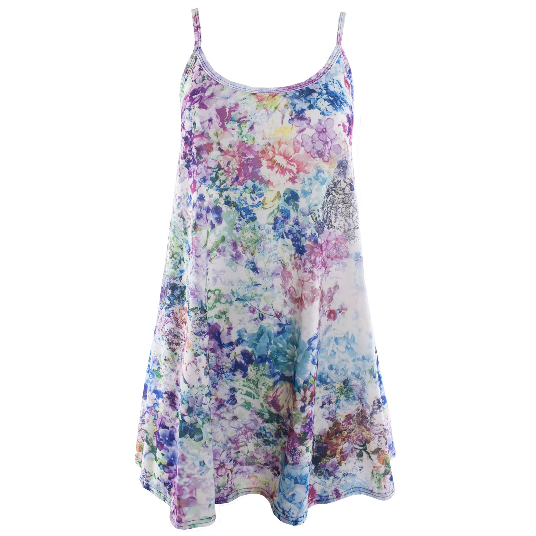 Womens Ladies Printed Strappy Sleeveless Flared Vest Swing Dress Top Plus Sizes