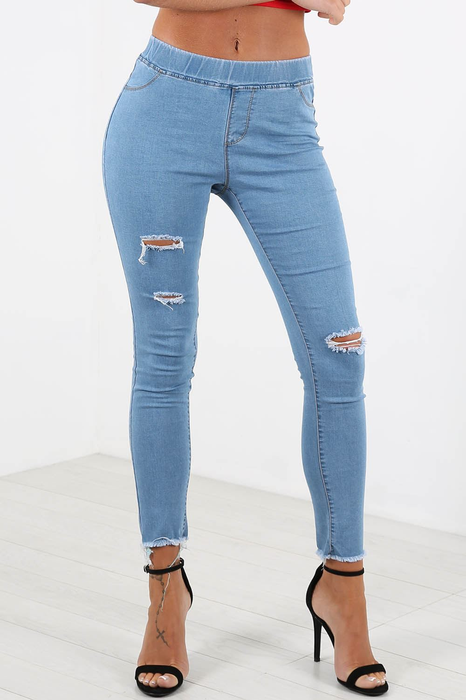 womens ladies skinny ripped destroyed denim look pocket jeans leggings jeggings ebay. Black Bedroom Furniture Sets. Home Design Ideas