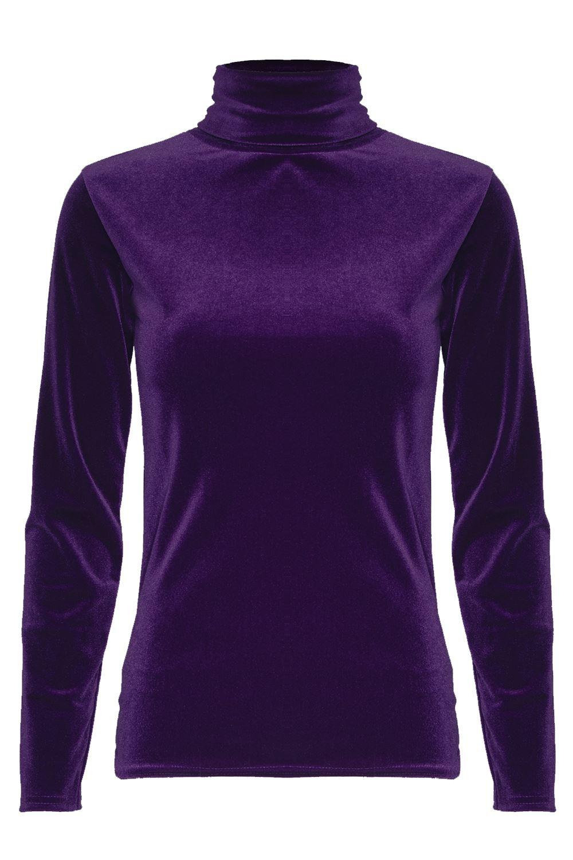 Ladies womens sleeveless polo turtle neck velvet full for Best full sleeve t shirts