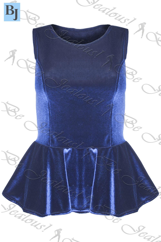 Womens Plus Size Velvet Peplum Top Ladies Flared Sleeveless Mini Skater Dresses