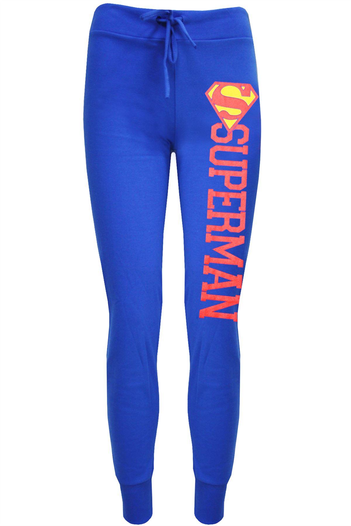 Womens Ladies Superman Batman Logo Jog Bottoms Jogging Pants Trouser Plus Size