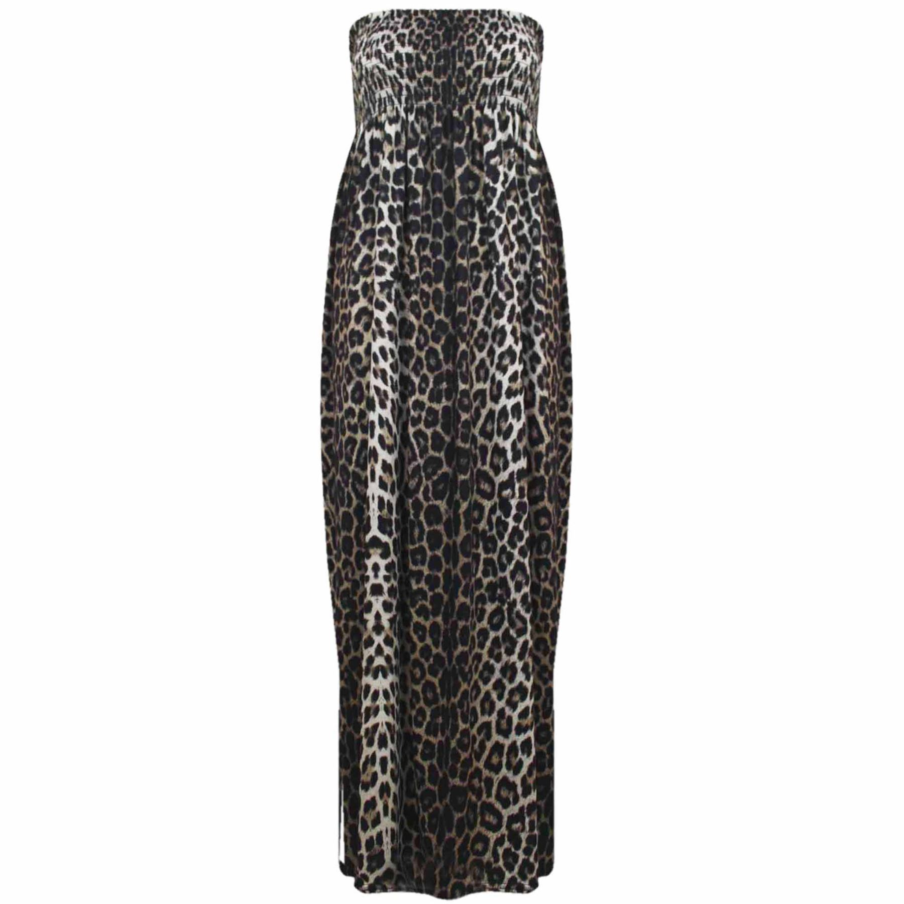 Womens Tie Knot Sleeveless Bandeau Ladies Boobtube Leopard Print Maxi Dress Top