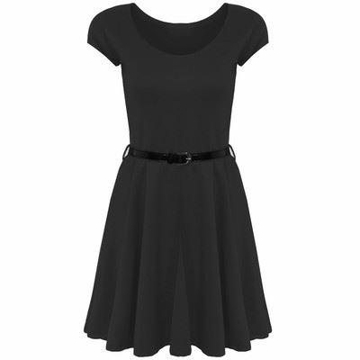 Womens Belted Cap Sleeves Flared Franki Ladies Plus Size Skater Dress Top 8-26