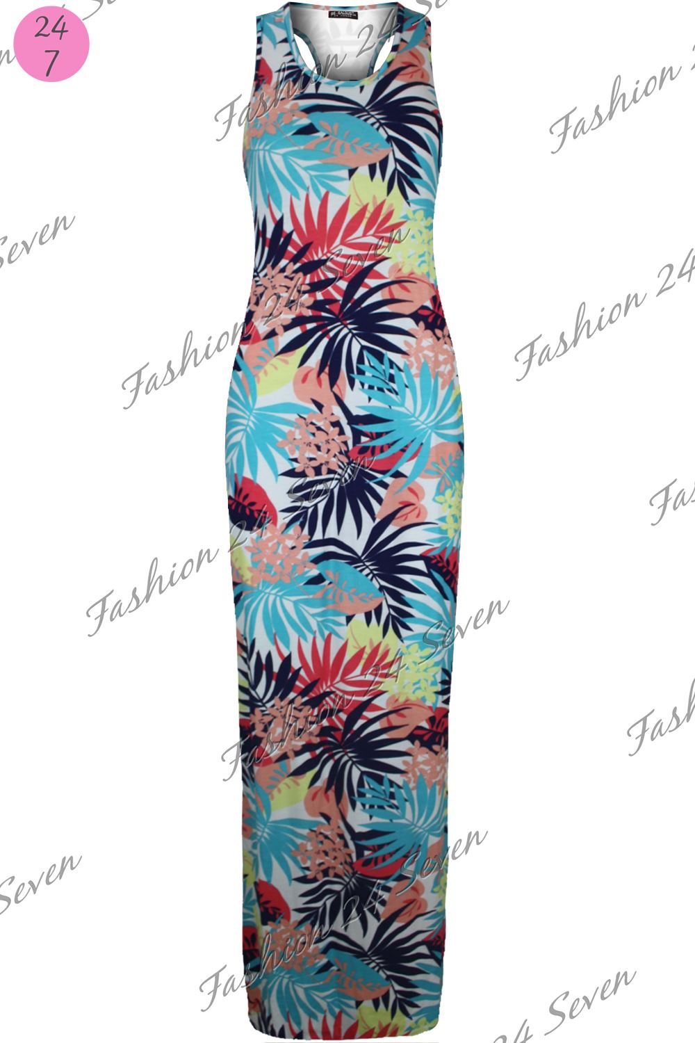 Womens Ladies Floral Summer Sunny Muscle Racer Back Jersey Vest Maxi Dress